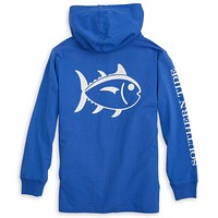 Kids Skipjack Long Sleeve Hoodie T-Shirt in Royal Blue by Southern Tide