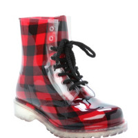 Dirty Laundry Red Plaid Rain Boot