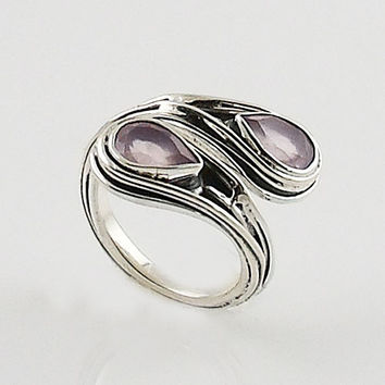 Rose Quartz Sterling Silver Wrap Ring
