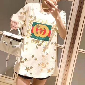 """""""Gucci""""Woman's Leisure  Fashion Letter Printing Spell Color Loose Short Sleeve Tops"""