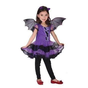 ESBON Helloween Costumes New Baby Girls Batman Costume Dresses With Wings Spandex Purple Children Kids Cosplay Wings Batman Clot Style