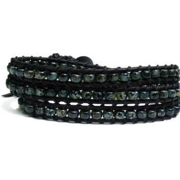 Triple Wrap Bracelet Black Leather Blue Green Mens Rustic Goth Womens Boho Bohemian Chic