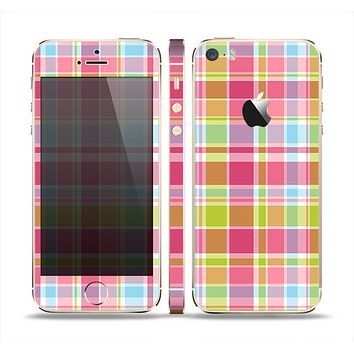 The Yellow & Pink Plaid Skin Set for the Apple iPhone 5s
