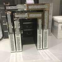 Stunning crushed diamond and mirror nest of 2 tables
