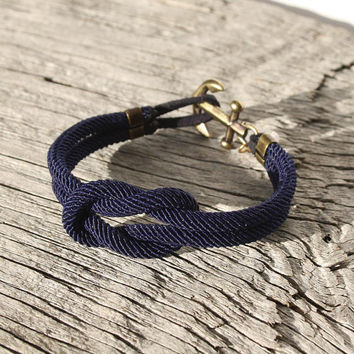 Nautical Square Knot Bracelet with anchor - waterproof with brass accents