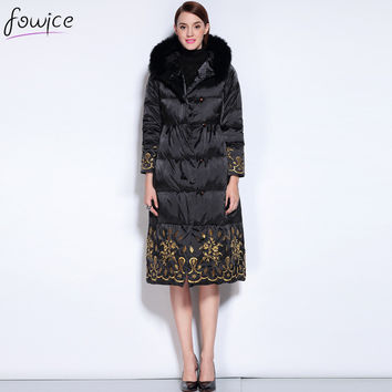 Plus Winter Warm Embroidery Flowers Black Women Down Coat White duck down Fur Collar Hooded Zipper Wide-waisted Thick Parkas