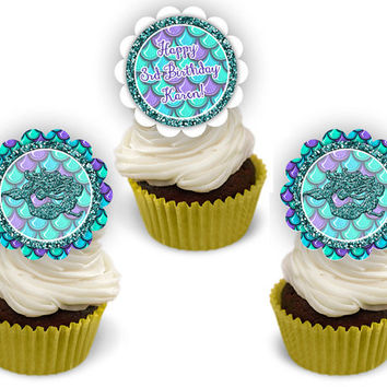 Mermaid Birthday Party Cupcake Toppers - Under The Sea Mermaid Cupcake Toppers - Blue - Purple - Girl Birthday Decor - Scales - Faux Glitter