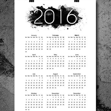 Watercolor printable 2016 wall calendar, Affiche, 2016 calendar, Instant download Calendar 70x100cm, 50x70cm, A4, 24x36""
