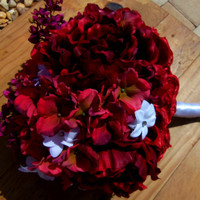 Wedding Bouquet Hydrangea Peony Bridal Bouquet - Red Hydrangeas -Peonies and Small White Flowers Bridal Bouquet- Wedding Accessory