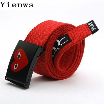 Yienws CDG Comme Des Hip Hop Young Boys Hipster Child Belt Canvas Woven Automatic Belts For Jeans B007