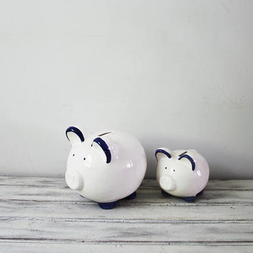 Vintage piggy bank, ceramic pig coin bank, vintage money bank, chubby ceramic piggy bank, early eighties