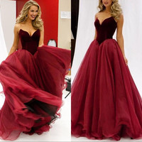 Sweetheart Prom dress, Long Velvet Prom Dresses, Formal Dress for Prom