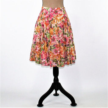 Floral Skirt Women Cotton Skirt Full Skirt Midi Boho Skirt Size 6 Skirt Pleated Spring Skirt Summer Skirt Boho Clothing Womens Clothing