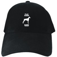 PLAY HARD Doberman Pinscher CRASH HARDER Black Baseball Cap Unisex