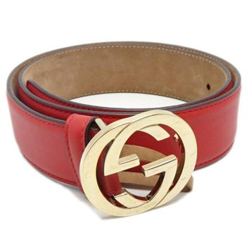 Authentic GUCCI Women's Interlocking Double G Belt 370543 Red /041838 FREE SHIP