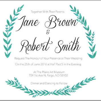 Fern Design Wedding Invitation and RSVP Card Downloadable PDF Set