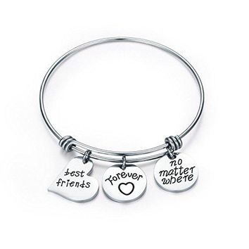 CJampM Best Friends Bangle Bracelet  Best Friends Forever No Matter Where Friendship BraceletBest Friend GiftGifts for FriendsLong Distance Friendship GiftsSister Gift Jewelry