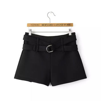 Winter Metal Waistband Black Casual Shorts [6048825089]