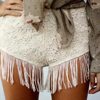 High Waisted Crochet Shorts with Tassel Trim Detail