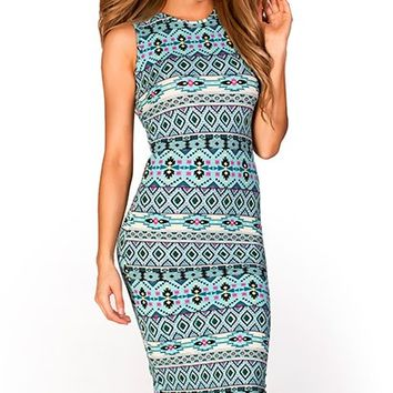 Charisma Aqua Aztec Print Sleeveless Bodycon Midi Dress