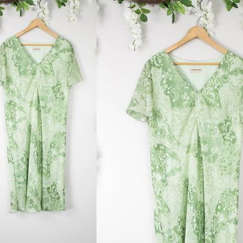 Vintage Mint Floral Shift Dress