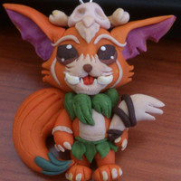 League of Legends Gnar pendant -- Videogame champion for keyring or necklace in polymer clay // Fimo jewelry