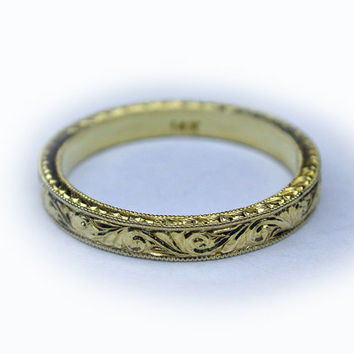 SALE!!! Hand Engraved 14k Yellow Gold Wedding Band/Engagment Ring. 2.5mm wide. Art Deco Style
