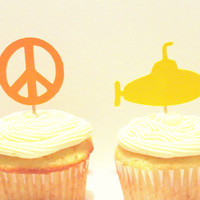 Yellow Submarine party cupcake toppers, peace signs, Beatles party decorations, 1960s, 1970s, 12CT