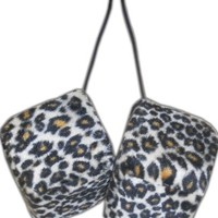 Cheetah Safari Animal Car Mirror Fuzzy Dice - Tan & Black - Pair