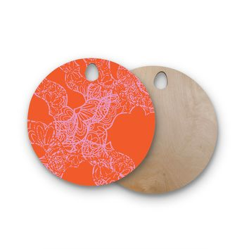 "Patternmuse ""Mandala Pumpkin"" Orange Pink Round Wooden Cutting Board"