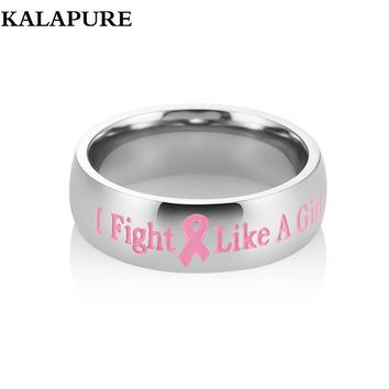 Stainless Steel Ring Official Pink Ribbon Breast Cancer Awareness Logo ''I Fight Like A Girl''