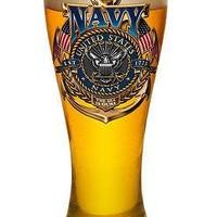 US NAVY- THE SEA IS OURS-  LARGE  PILSNER BEER GLASS