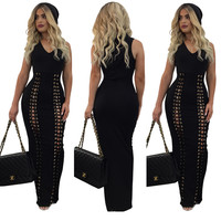 Fashion Black Lace-up Front Sleeveless Hoodie Long Dress