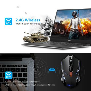 VicTsing 2.4G Wireless Gaming Mouse, LED Backlight,2400DPI 5 Adjustable DPI Mice, 6 Programmable Buttons for Gamer PC, Laptop, Notebook, Computer, Macbook
