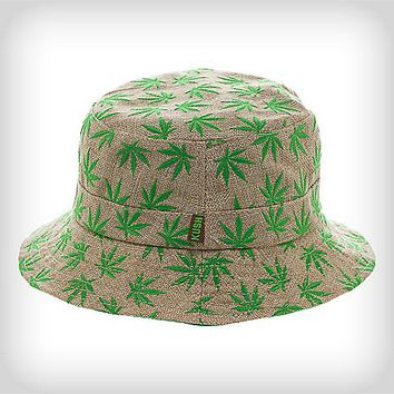 dbc7935c2e2 Tan and Green Hemp Leaf Bucket Hat - Spencer s