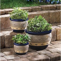 Deep Blue Tribal Planter Trio