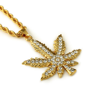 Gift Jewelry Shiny New Arrival Stylish Pendant Big Size Leaf Hip-hop Accessory Necklace [10529027395]