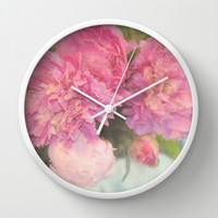 Peonies Wall Clock by Lisa Argyropoulos | Society6
