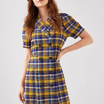Plaid Print Double Breasted Placket Dress