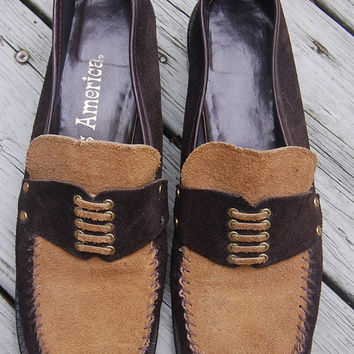 Vintage Two Tone Brown Suede Miss America Loafers Shoes Size 8 1/2 AA