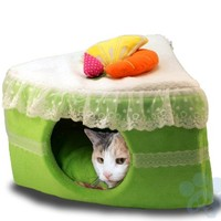 """16"""" Pet-e-cake Cat Bed Cave Condo, Green Tea with Removeable Pad"""