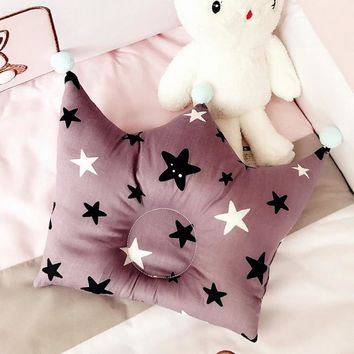 Urijk Cartoon Baby Sleeping Forming Pillow Cotton Pillow Prevent Flat Head Cute Crown Sleeping Bedding Support Shaped Headrest
