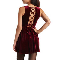 VELVET LACE-UP SKATER DRESS