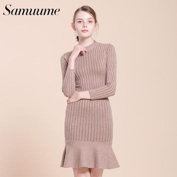 Samuume Elegant Fishtail Warm Women Knit Dress Natural Waist Long Sleeve Ruffles Lady Midi Dresses Autumn Vestidos A1709029