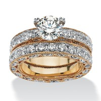 5.01 TCW Round Cubic Zirconia 14k Yellow Gold-Plated Beaded Bridal Engagement Ring Wedding Band Set