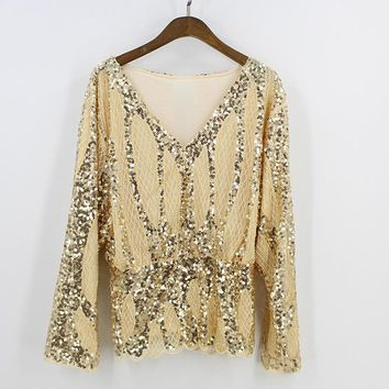 Luxury Women Sleeve Deep V Collar Embroidery Sequin Bead Elastic Waist Tunic Sexy Blouse Lace Grid Shirt Top