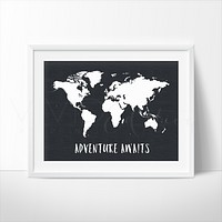 Adventure Awaits World Map, Black & White
