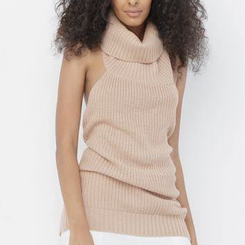 SPLIT WAYS HALTER TURTLENECK SWEATER