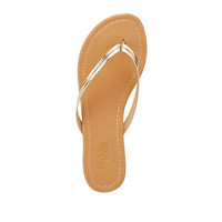 Seamed Metallic Flip-Flop Sandals