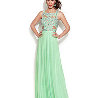 Betsy & Adam Sleeveless Embellished Cutout Gown